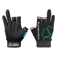 Перчатки рыболовные Yoshi Onyx цвет черно-бирюзовый (3 открытых пальца)