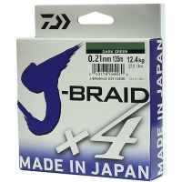 Леска плетеная DAIWA J-Braid X4 0,21мм 135м (зеленая)