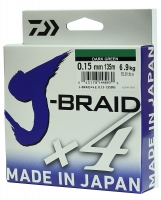 Леска плетеная DAIWA J-Braid X4 0,15мм 135м (зеленая)