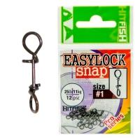 Быстросъёмные застёжки HitFish Easylock Snap, #0, 6.7кг, 12шт.