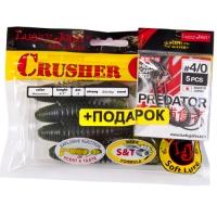 Комплект Твистеры Lj - Crusher Grub 4,5In, цвет pa01 И Крючки Офсетные 4/0 Lj Predator