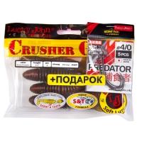 Комплект Твистеры Lj - Crusher Grub 4,5In, цвет pa03 И Крючки Офсетные 4/0 Lj Predator
