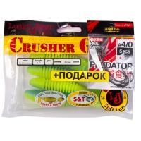 Комплект Твистеры Lj - Crusher Grub 4,5In, цвет t57 И Крючки Офсетные 4/0 Lj Predator