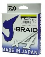 Леска плетеная DAIWA J-Braid X4 0,17мм 135м (желтая)