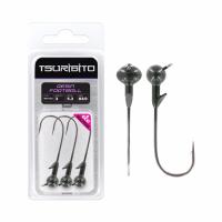 Джигголовка вольфрам-полимерная Tsuribito Tungsten Jig Heads Resin Football, крючок 3/0, вес 5.3 г, 3 шт, цвет арбуз