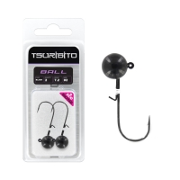 Джигголовка вольфрамовая Tsuribito Tungsten Jig Heads Ball, крючок 2, вес 7.2 г, 2 шт., цвет черный