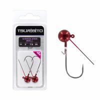 Джигголовка вольфрамовая Tsuribito Tungsten Jig Heads Weedless Ball, крючок 1/0, вес 3.5 г, 3 шт., цвет красный