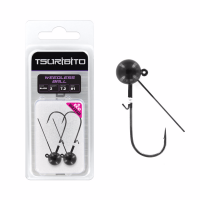 Джигголовка вольфрамовая Tsuribito Tungsten Jig Heads Weedless Ball, крючок 1, вес 3.5 г, 3 шт., цвет черный