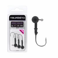 Джигголовка вольфрам-полимерная Tsuribito Tungsten Jig Heads Resin Round, крючок 1/0, вес 3.5 г, 3 шт., цвет черный матовый