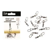 Застёжки с вертлюгом DAIWA Fast Lock Swivel #10, тест 7кг (15lb), 10шт.