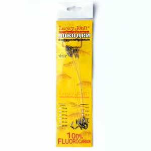 фото - Поводки флюорокарбоновые с вертлюгом и застежкой 5кг, 25см, 10шт.