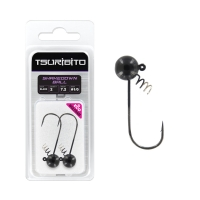 Джигголовка вольфрамовая Tsuribito Tungsten Jig Heads Shakedown Ball, крючок 2, вес 7.2 г, 2 шт., цвет черный